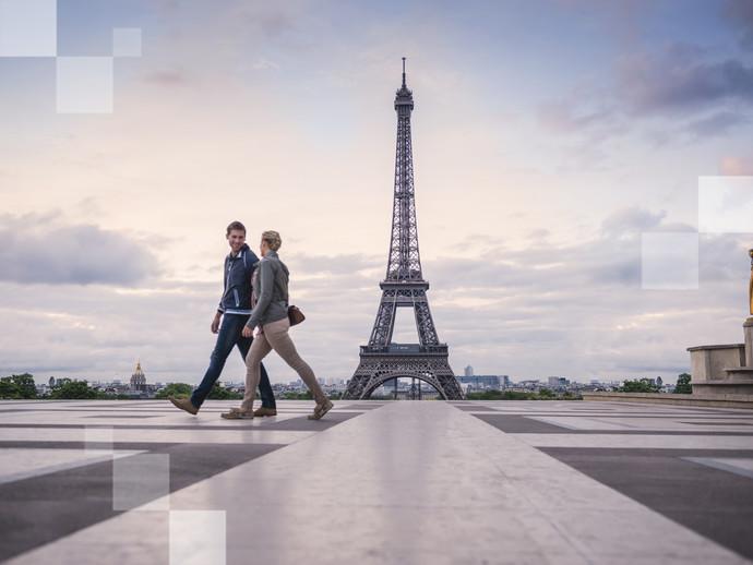 Cartão-postal de Paris: a Torre Eiffel e os Jardins du Trocadero
